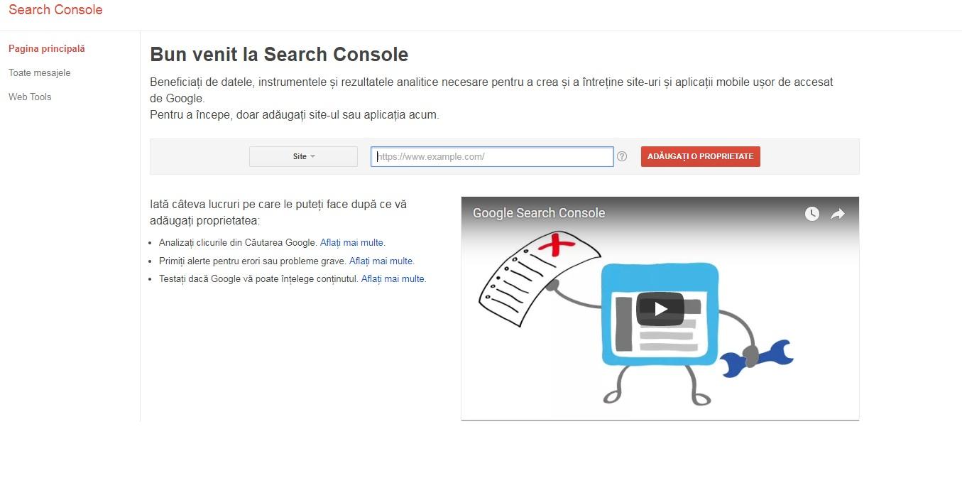 adauga website la search console