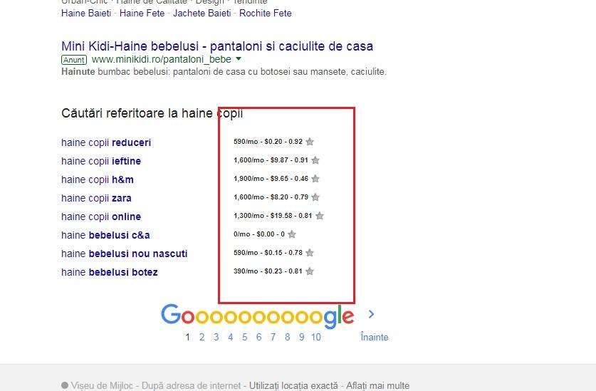 keywords everywhere cautare google sugestii jos