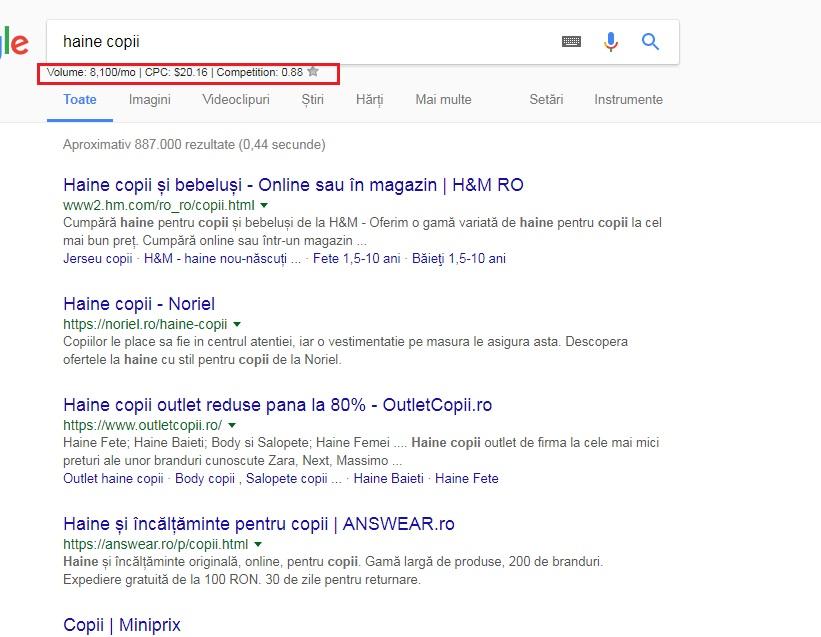 keywords everywhere cautare google