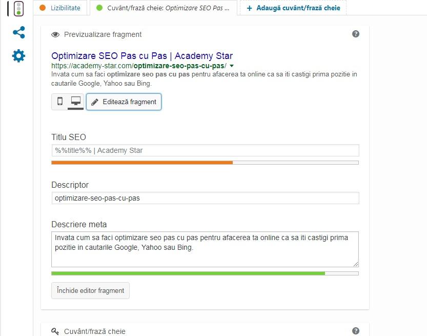 optimizarea meta tagurilor yoast plugin